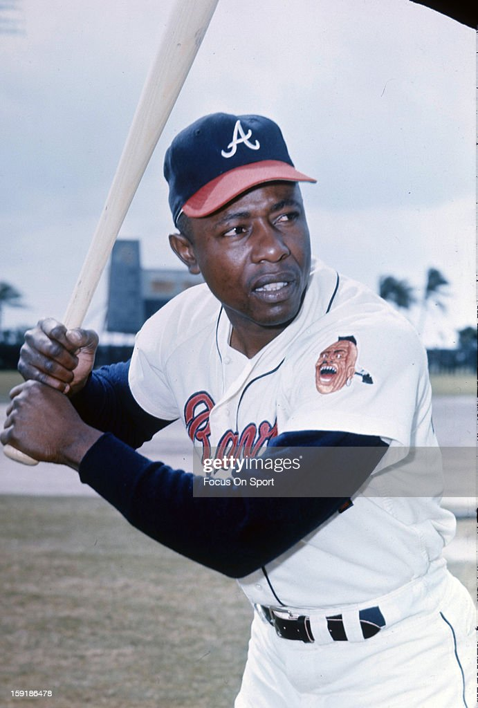 Hank Aaron #44 of the Atlanta Braves poses for this photo before a Major League Baseball game circa 1966. Aaron played for the Braves from 1954-74.