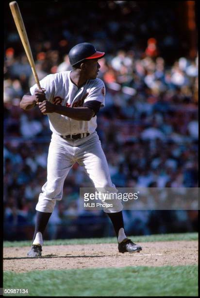 Hank Aaron of the Atlanta Braves stands ready at the plate during a game in 1968