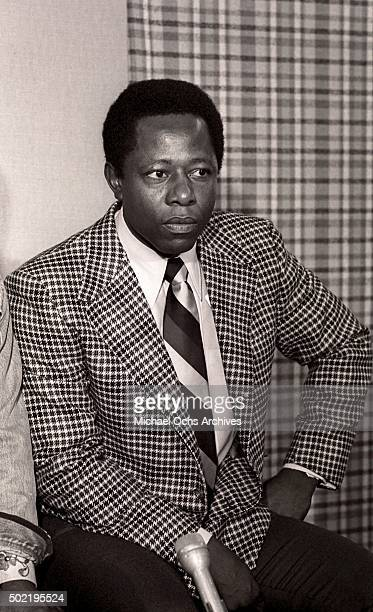 Hank Aaron of the Atlanta Braves talks during a press conference before filming NBCTV's The Flip Wilson Show with Flip Wilson on October 15 1973 in...