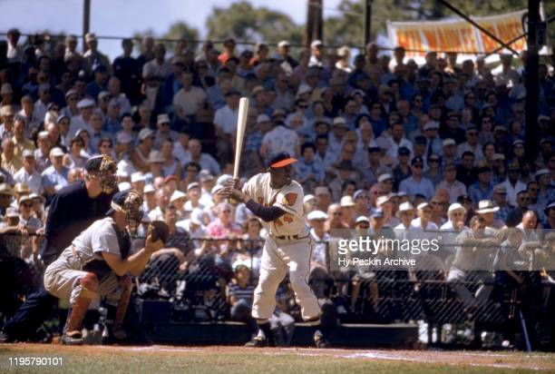 Hank Aaron of the Milwaukee Braves bats during an MLB Spring Training game circa March 1957 in Bradenton Florida