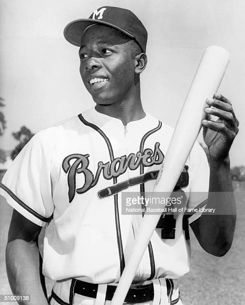 Hank Aaron of the Milwaukee Braves poses for a portrait Aaron played in Milwaukee for the Braves from 19541965