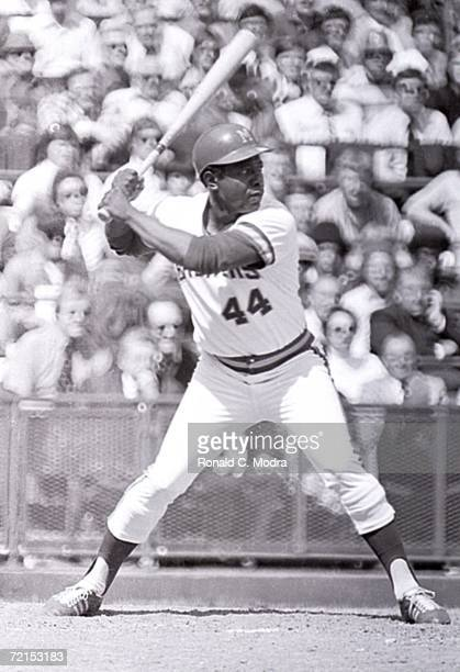 Hank Aaron of the Milwaukee Brewers at bat during a game at County Stadium against the Detroit Tigers on October 3 1976 in Milwaukee Wisconsin