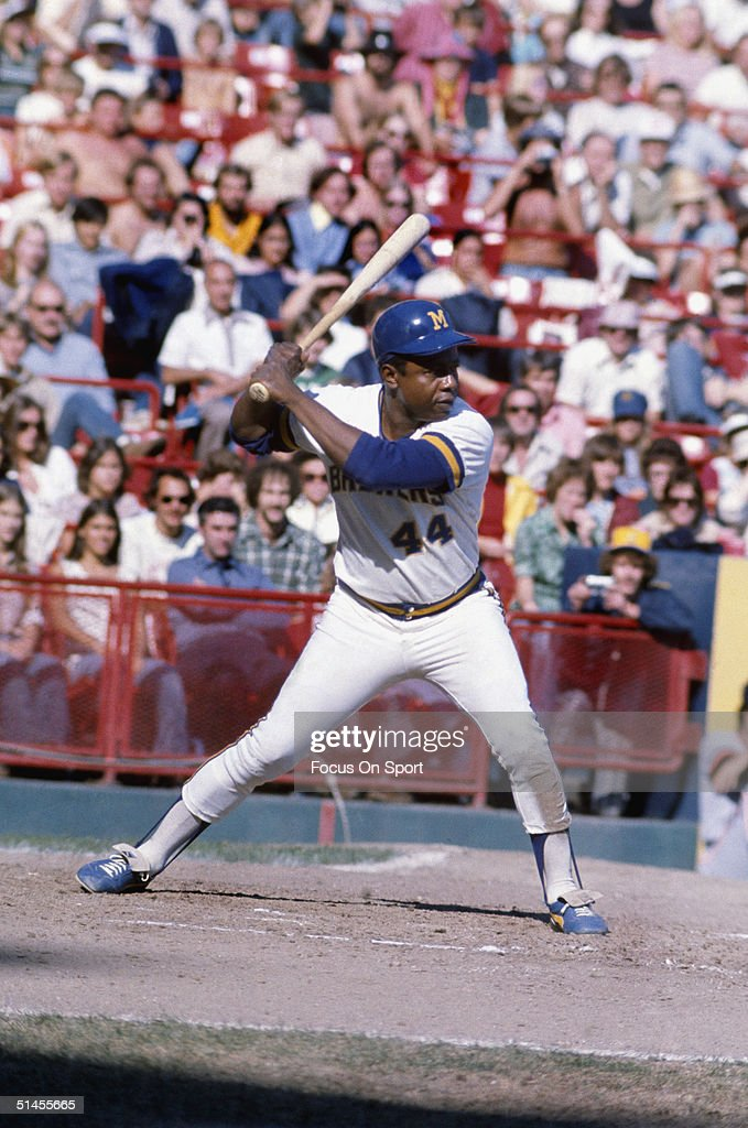 Hank Aaron #44 of the Milwaukee Brewers bats during a circa 1970s game at County Stadium in Milwaukee, Wisconsin. Aaron played for the Brewers from 1975-76.