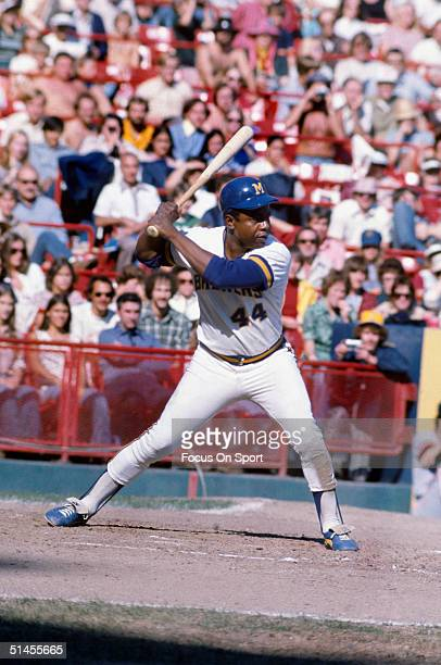 Hank Aaron of the Milwaukee Brewers bats during a circa 1970s game at County Stadium in Milwaukee Wisconsin Aaron played for the Brewers from 197576