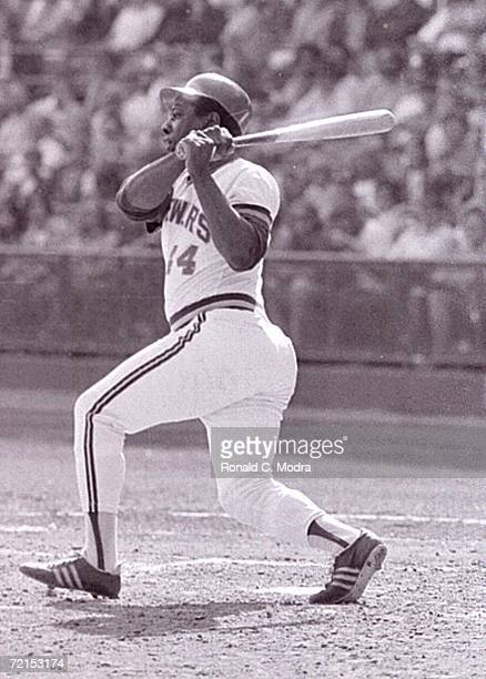 Hank Aaron of the Milwaukee Brewers in his last at bat in the major leagues at County Stadium against the Detroit Tigers on October 3 1976 in...