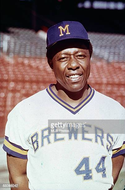 Hank Aaron of the Milwaukee Brewers poses for a portrait before a game at Milwaukee County Stadium in Milwaukee Wisconsin Hank Aaron played for the...