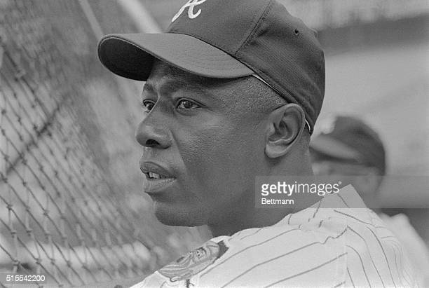 Hank Aaron, the right fielder for the Atlanta Braves, shown in this close up photograph, was named to the National League All Star team for the 16th...