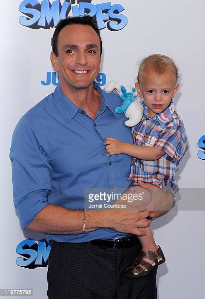 Hank Azaria and his son Hal attend the premiere of The Smurfs at the Ziegfeld Theater on July 24 2011 in New York City