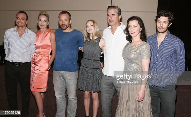 Hank Azaria Sharon Stone Peter Sarsgaard Amanda Seyfried Chris Noth Debi Mazar and Adam Brody attend The 'Lovelace' New York press conference on July...