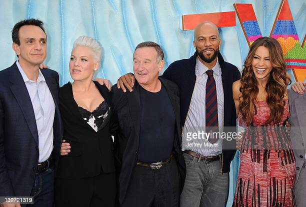 Hank Azaria singer/actress Alecia Moore aka Pink Robin Williams Common Sofia Vergara Elijah Wood and EG Daily attend the Happy Feet Two Los Angeles...