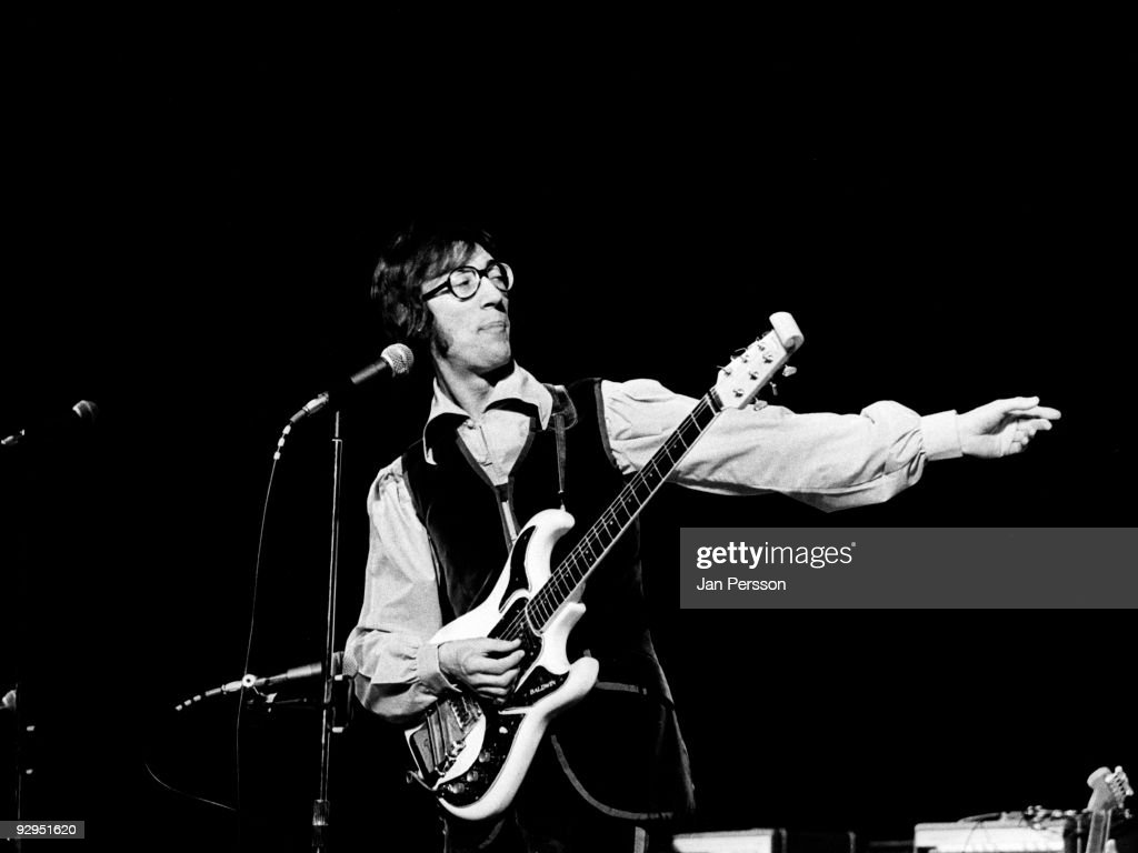Hank B Marvin performs on stage with The Shadows spin off band Marvin Welch & Farrar in March 1971 in Copenhagen, Denmark. He plays a Burns Hank Marvin guitar.