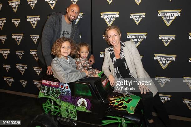 Hank Baskett son Hank daughter Alijah and TV Personality Kendra Wilkinson Baskett arrive at Monster Jam Celebrity Event at Angel Stadium on February...