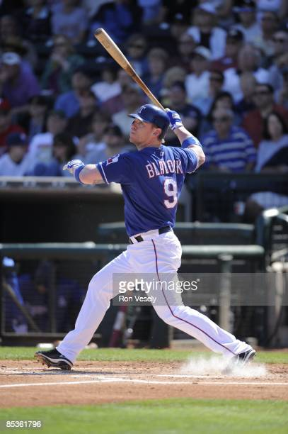 Hank Blalock of the Texas Rangers bats during the game against the Chicago White Sox on March 7 2009 at Surprise Stadium in Surprise Arizona