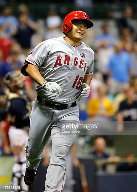 Hank Conger of the Los Angeles Angels of Anaheim runs the bases after hitting a home run in the ninth against the Milwaukee Brewers during their game...