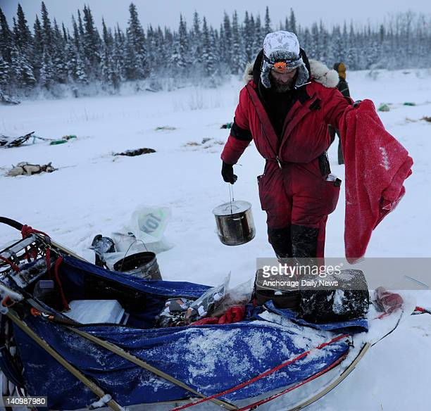 Hank Debruin packs his sled in Nikolai Alaska during the Iditarod Trail Sled Dog Race on Wednesday March 7 2012