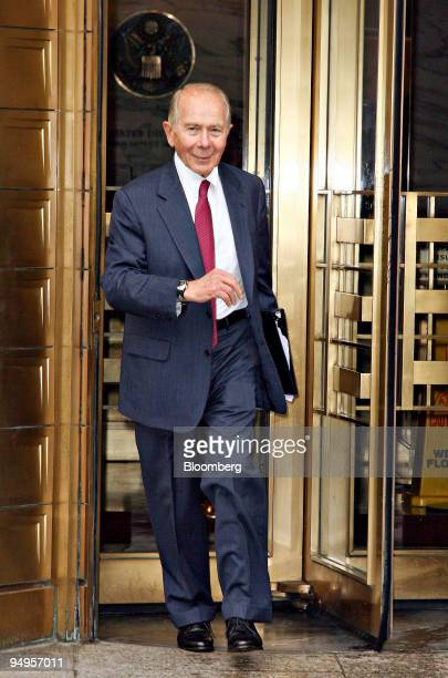 Hank Greenberg chief executive officer of CV Starr Co Inc and former chairman of American International Group leaves Federal Court in New York US on...