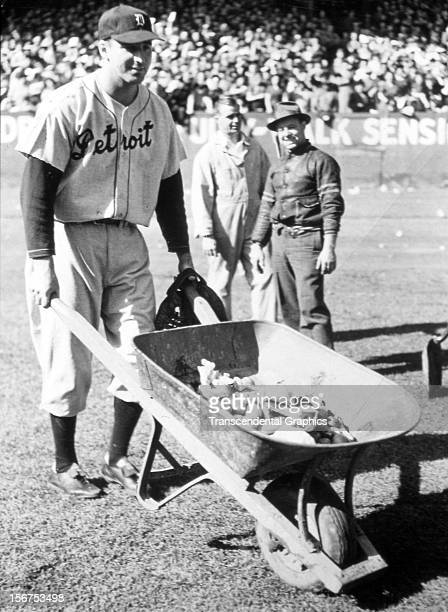 Hank Greenberg does some clean up work before a game circa 1935 in Yankee Stadium in New York City