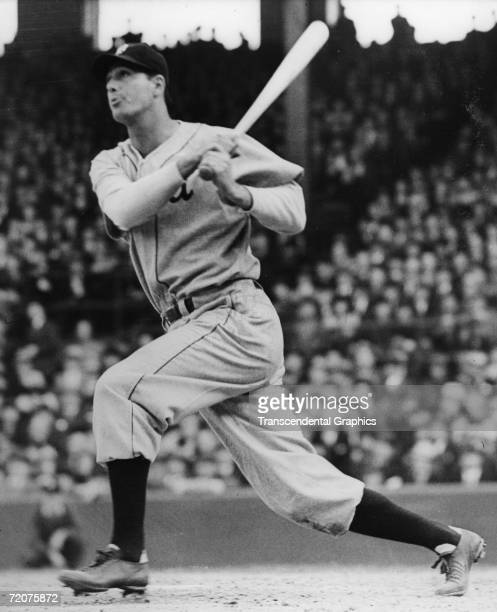 CHICAGO APRIL 20 1938 Hank Greenberg first baseman for the Detroit Tigers hits a home run on opening day of the 1938 season against the Chicago White...