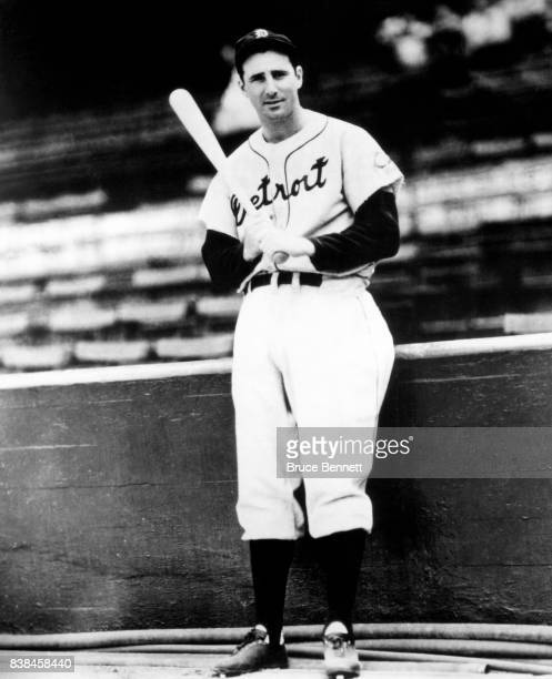 Hank Greenberg of the Detroit Tigers poses for a portrait circa 1938 at Briggs Stadium in Detroit Michigan