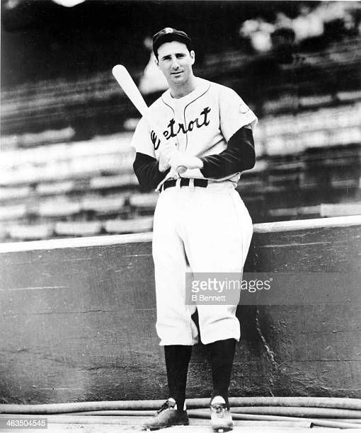 Hank Greenberg of the Detroit Tigers poses for a portrait circa 1940 at Briggs Stadium in Detroit Michigan