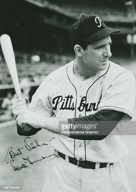 Hank Greenberg poses before the dugout before a game in 1947 at Forbes Field in Pittsburgh Pennsylvania