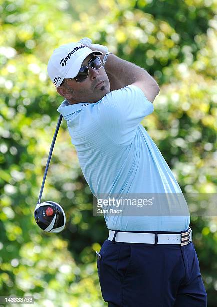 Hank Kuehne hits a drive on the second hole during practice for the Zurich Classic of New Orleans at TPC Louisiana on April 24, 2012 in New Orleans,...