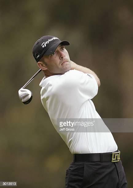 Hank Kuehne hits a shot during the second round of the Nissan Open at the Riviera Country Club on February 20 2004 in Pacific Palisades California
