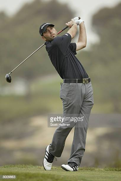 Hank Kuehne hits a shot during the third round of the Buick Invitational at Torrey Pines Golf Course on February 14, 2004 in La Jolla, California.