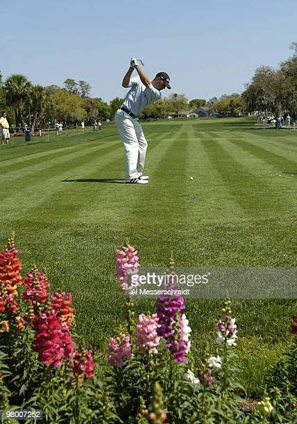 Hank Kuehne hits from the 10th tee during a practice round at Bay Hill Club, site of the PGA Tour Bay Hill Invitational, Orlando, Florida, March 17,...