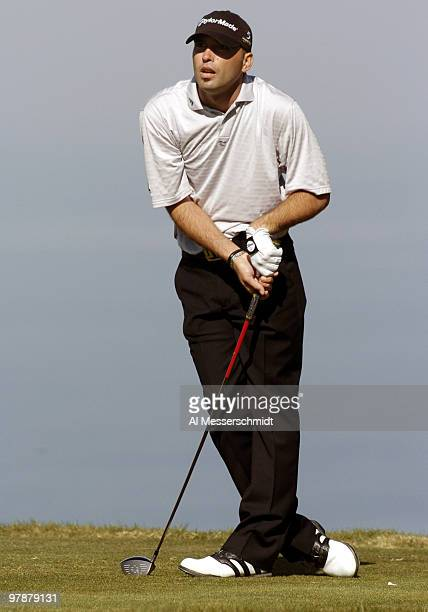 Hank Kuehne tees off on the fifth hole at Torrey Pines Golf Course, site of the Buick Invitational, during final-round play February 15, 2004.