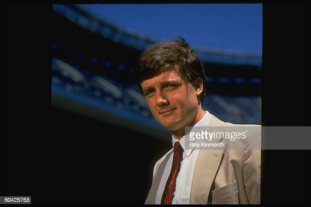 Hank Steinbrenner likely to replace his father George who was recently kicked out as owner of the Yankees baseball team standing outside