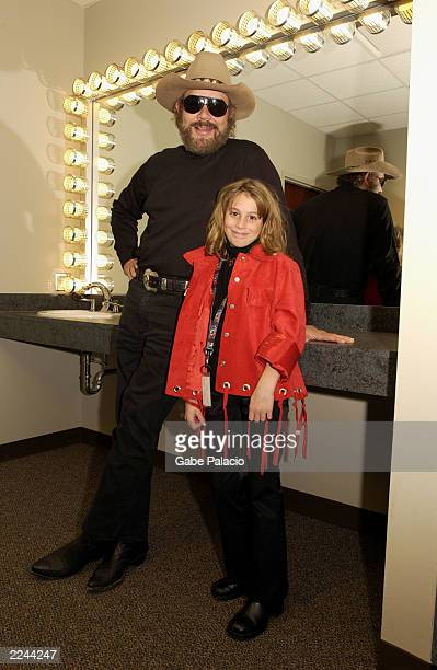 Hank Williams Jr and his daughter Katie backstage at the Country Freedom Concert in Nashville Tennesee on October 21 2001 Photo by Gabe...