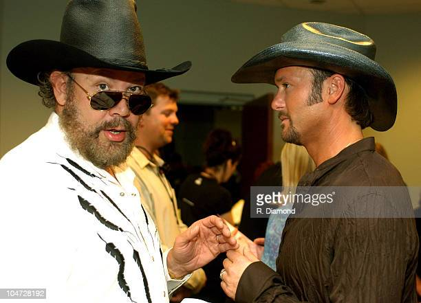 Hank Williams Jr and Tim McGraw during 2003 CMT Flameworthy Awards Audience and Backstage at The Gaylord Center in Nashville Tennessee United States