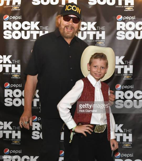 Hank Williams Jr. And Viral video singing sensation Mason Ramsey backstage during Pepsi's Rock The South Festival - Day 2 in Heritage Park on June 2,...