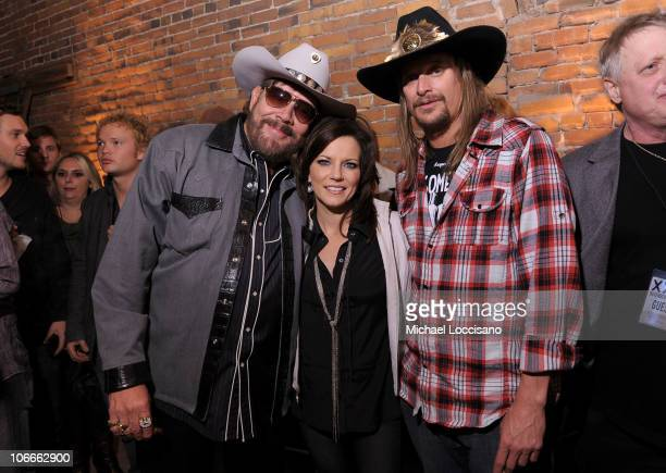 Hank Williams Jr Martina McBride and Kid Rock attend the launch party for Popcorn Sutton's Tennessee White Whiskey at the Marathon Building on...