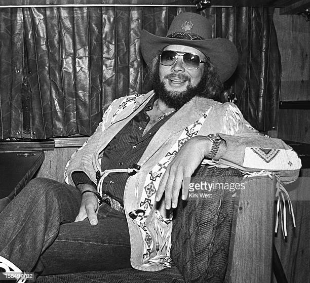 Hank Williams Jr on his tour bus at Mill Run Chicago Illinois April 18 1981
