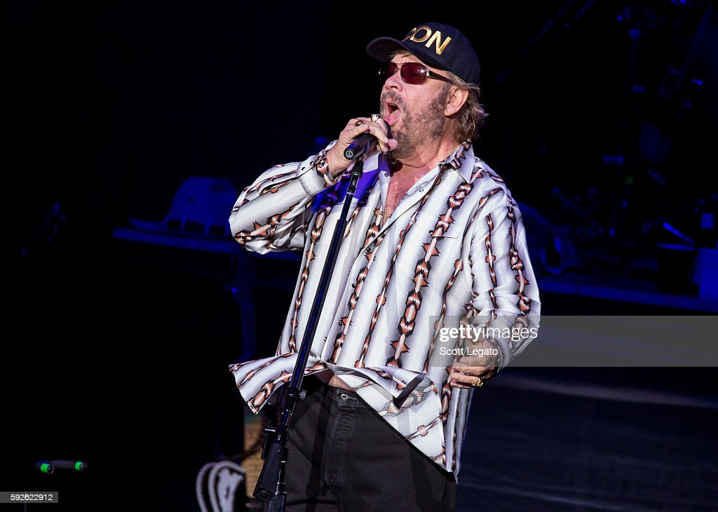 Hank Williams Jr. performs at DTE Energy Music Theater on August 20, 2016 in Clarkston, Michigan.