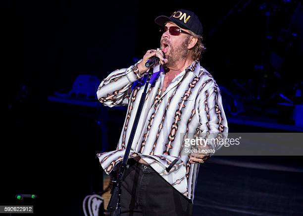 Hank Williams Jr performs at DTE Energy Music Theater on August 20 2016 in Clarkston Michigan