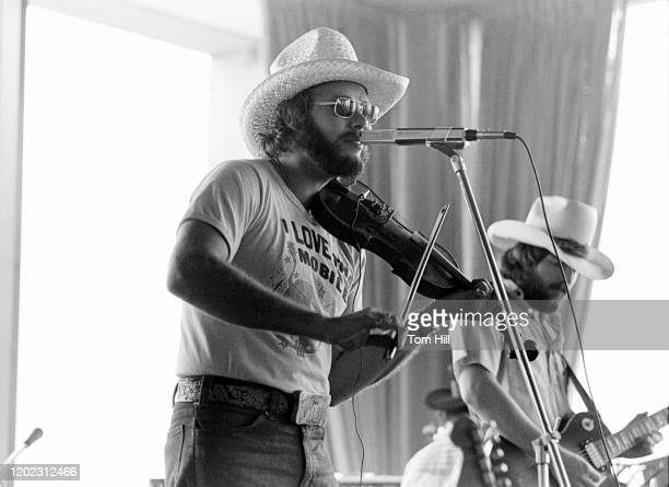 Hank Williams Jr. Performs for a record industry audience at Stouffer's Hotel on May 26, 1977 in Atlanta, Georgia.