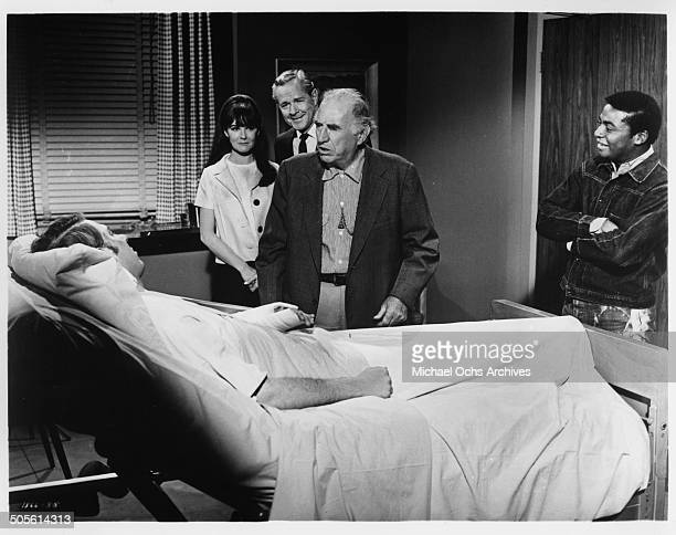 Hank Williams Jr Shelley Fabares Donald Woods Ed Begley and D'Urville Martin in the hospital in a scene from the movie A Time to Sing circa 1968