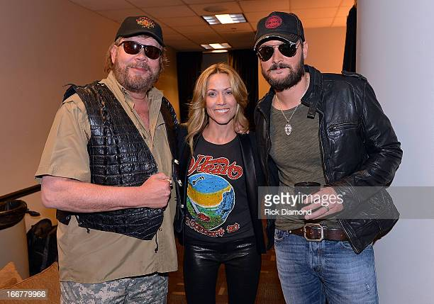 Hank Williams Jr Sheryl Crow and Eric Church backstage during Keith Urban's Fourth annual We're All For The Hall benefit concert at Bridgestone Arena...