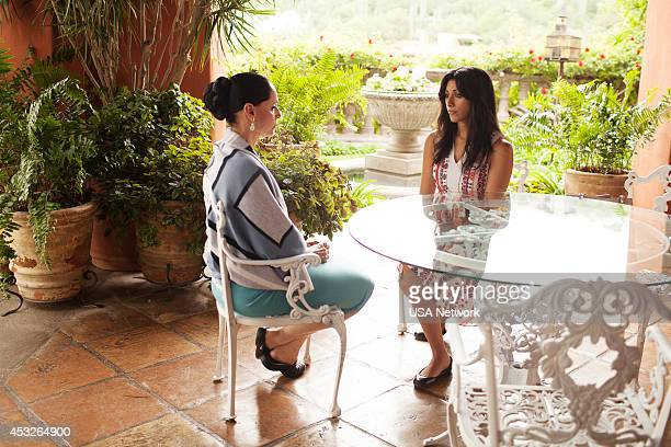 PAINS 'Hankmed on the Half Shell' Episode 611 Pictured Sonia Braga as Lorena Reshma Shetty as Divya Katdare