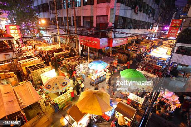 hankou night market - wuhan stock pictures, royalty-free photos & images