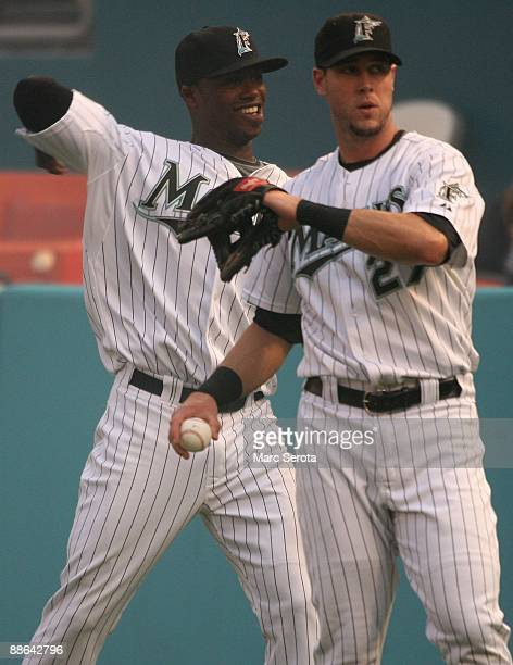 Hanley Ramirez and Jeremy Hermidia of the Florida Marlins warm up against the New York Yankees at Landshark Stadium on June 20 2009 in Miami Florida...