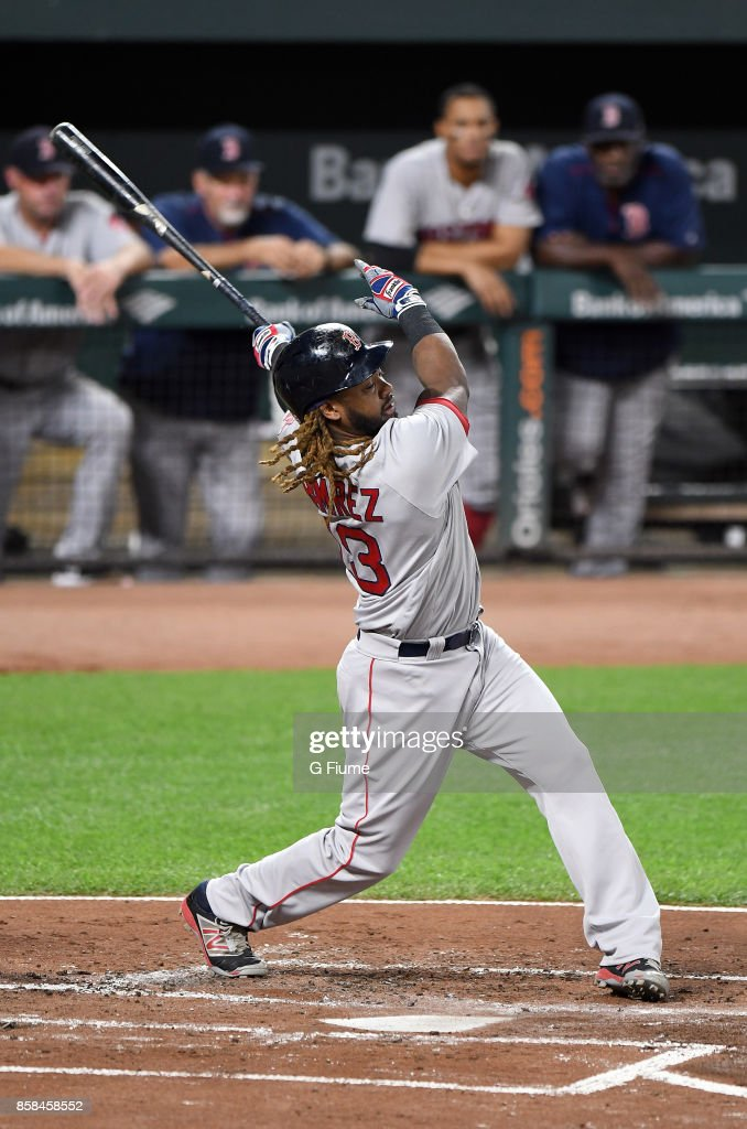 Hanley Ramirez #13 of the Boston Red Sox bats against the Baltimore Orioles at Oriole Park at Camden Yards on September 20, 2017 in Baltimore, Maryland.