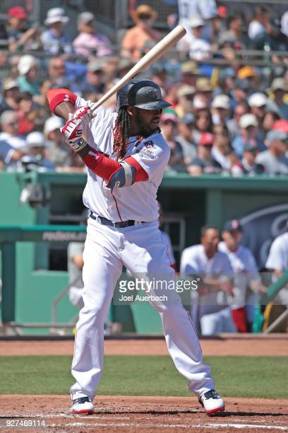 Hanley Ramirez of the Boston Red Sox bats against the New York Yankees during a spring training game at JetBlue Park on March 3 2018 in Fort Myers...