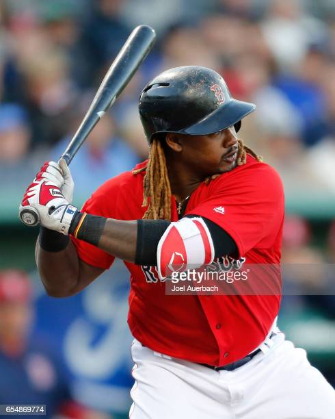 Hanley Ramirez of the Boston Red Sox bats against the Pittsburgh Pirates in the fourth inning during a spring training game at JetBlue Park on March...