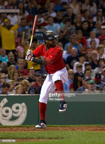 Hanley Ramirez of the Boston Red Sox bats during the fourth inning against the Detroit Tigers at Fenway Park on July 24 2015 in Boston Massachusetts...