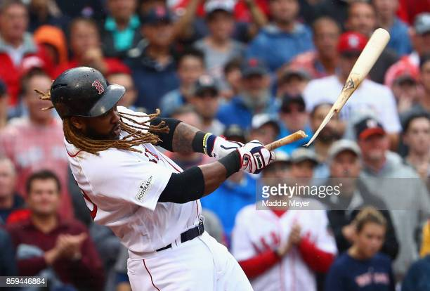 Hanley Ramirez of the Boston Red Sox breaks his bat in the third inning against the Houston Astros during game four of the American League Division...
