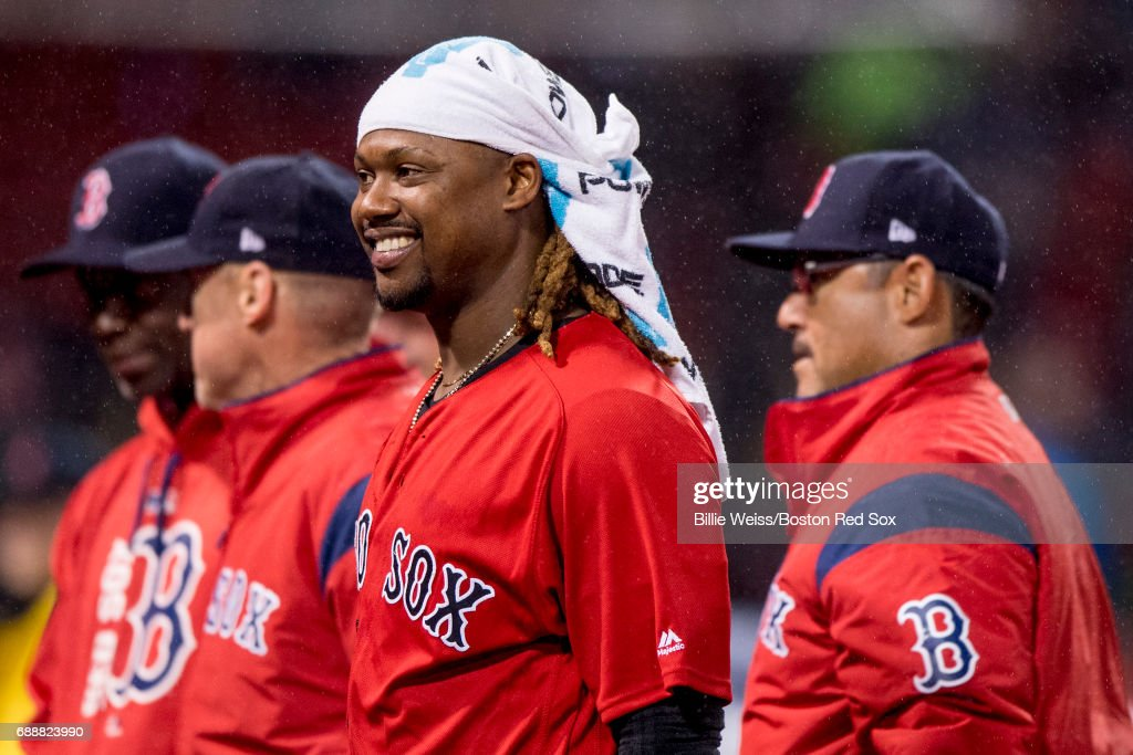 Hanley Ramirez #13 of the Boston Red Sox celebrates a victory against the Seattle Mariners on May 26, 2017 at Fenway Park in Boston, Massachusetts.